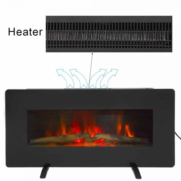 "36"" Electric Fireplace Heater Wall Mounted or Freestanding Infrared Electric Fireplace Stove with Remote Control 4"