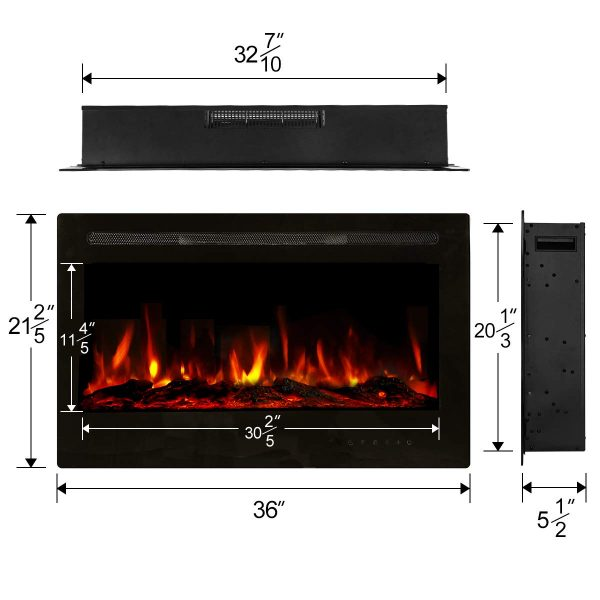 "36"" Recessed Mounted Electric Fireplace Insert with Touch Screen Control Panel, Remote Control, 750/1500W, Black 1"