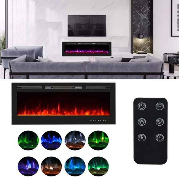 "36"" Recessed Mounted Electric Fireplace Insert with Touch Screen Control Panel"