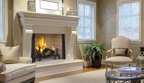 "36"" Wood Burning Fireplace with Ivory Split Herringbone Liner"