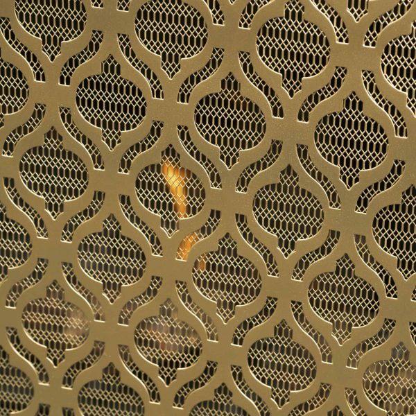 "39.5"" Gold Contemporary Single Paneled Fireplace Screen 1"