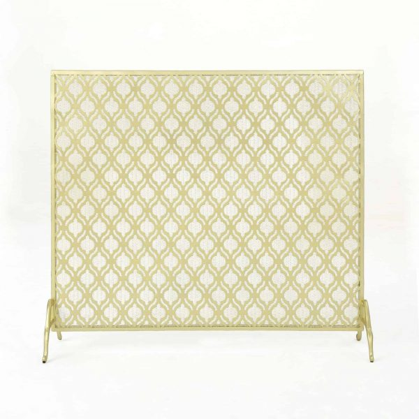 "39.5"" Gold Contemporary Single Paneled Fireplace Screen 3"