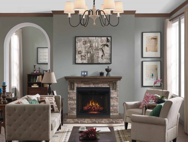 """39"""" Traditional Built-in Electric Fireplace Insert with Glass Door and Mesh Screen, Dual Voltage Option 1"""