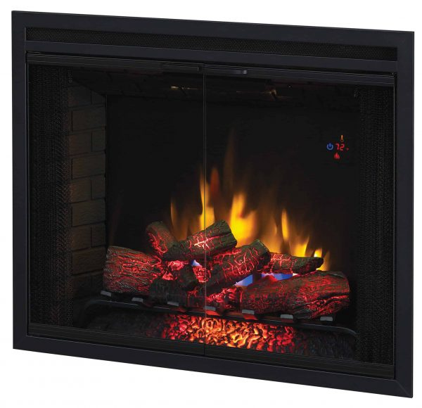 """39"""" Traditional Built-in Electric Fireplace Insert with Glass Door and Mesh Screen, Dual Voltage Option 2"""
