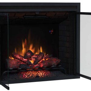 "39"" Traditional Built-in Electric Fireplace Insert with Glass Door and Mesh Screen"
