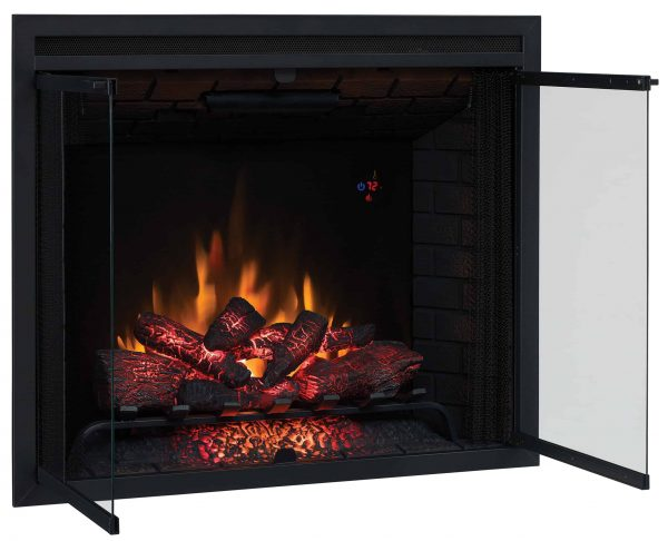 """39"""" Traditional Built-in Electric Fireplace Insert with Glass Door and Mesh Screen"""