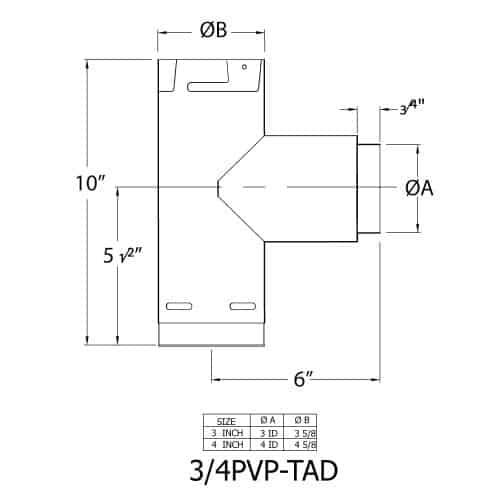 """3"""" Pelletvent Pro Adaptor Tee, Galvalume 2"""