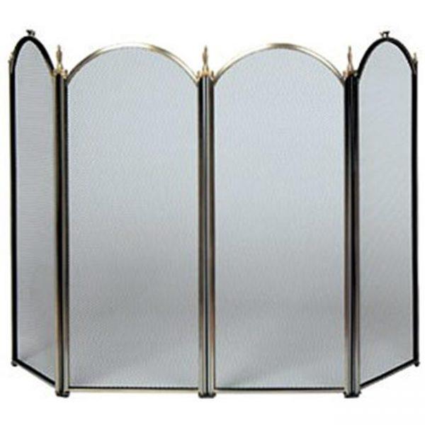 4 Fold Antique Brass Screen- S-4114