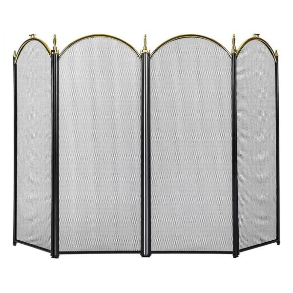 4 Panel Decorative Mesh Wrought Iron Fireplace Screen 1