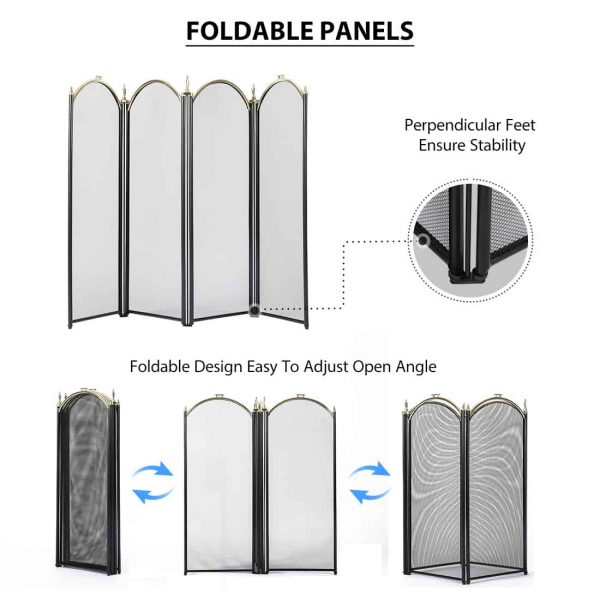 4 Panel Decorative Mesh Wrought Iron Fireplace Screen 2