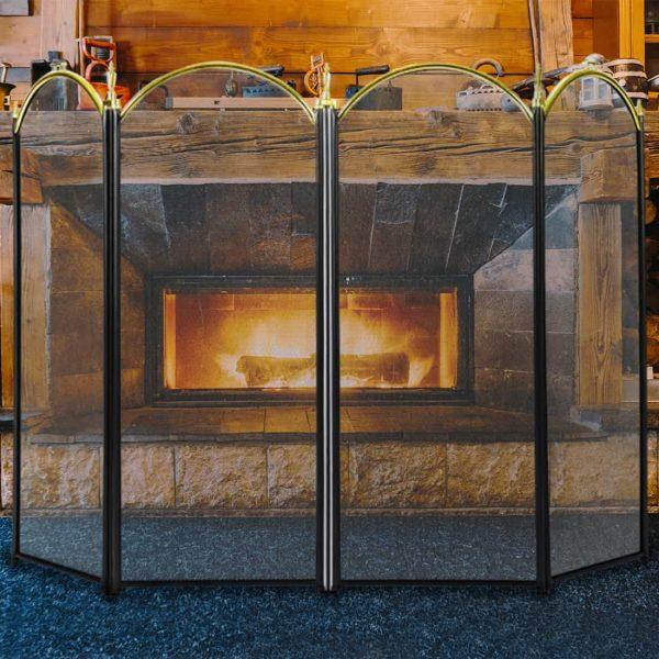 4 Panel Decorative Mesh Wrought Iron Fireplace Screen 5