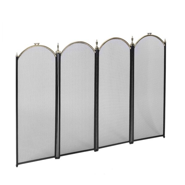 4 Panel Decorative Mesh Wrought Iron Fireplace Screen 8