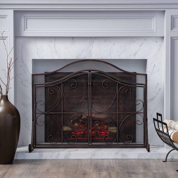 "41"" Black Contemporary 3 Paneled Fireplace Screen"