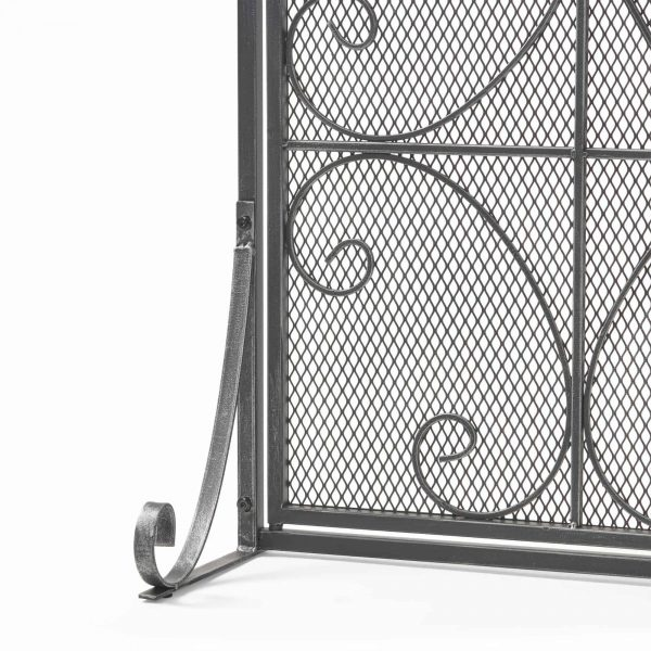 """41"""" Black and Silver Contemporary 3 Paneled Fireplace Screen 1"""