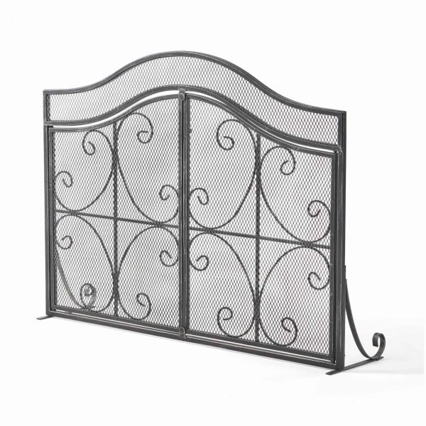 """41"""" Black and Silver Contemporary 3 Paneled Fireplace Screen 2"""