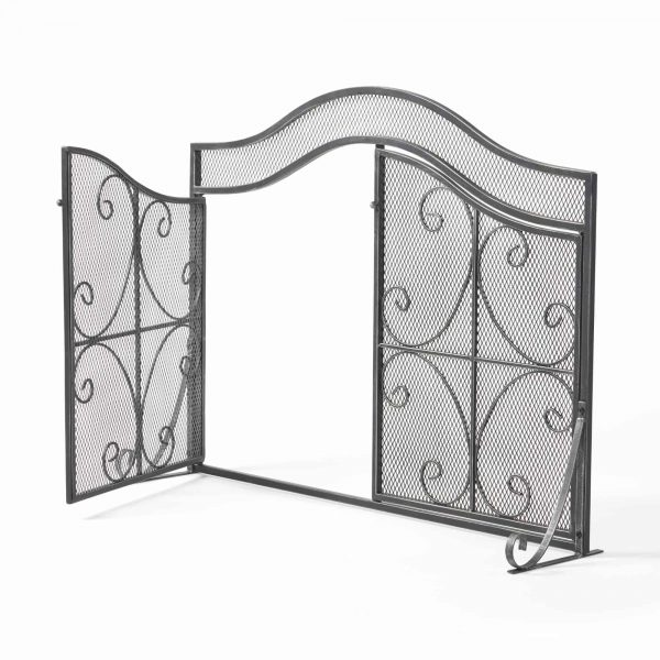 """41"""" Black and Silver Contemporary 3 Paneled Fireplace Screen 3"""