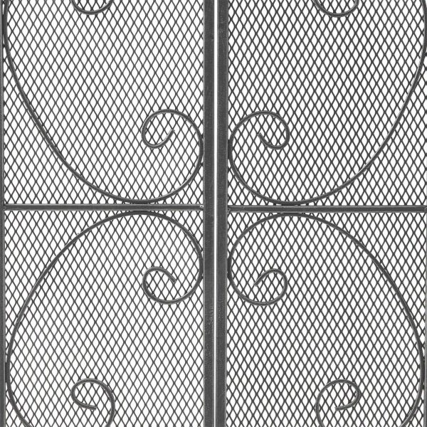 """41"""" Black and Silver Contemporary 3 Paneled Fireplace Screen 5"""