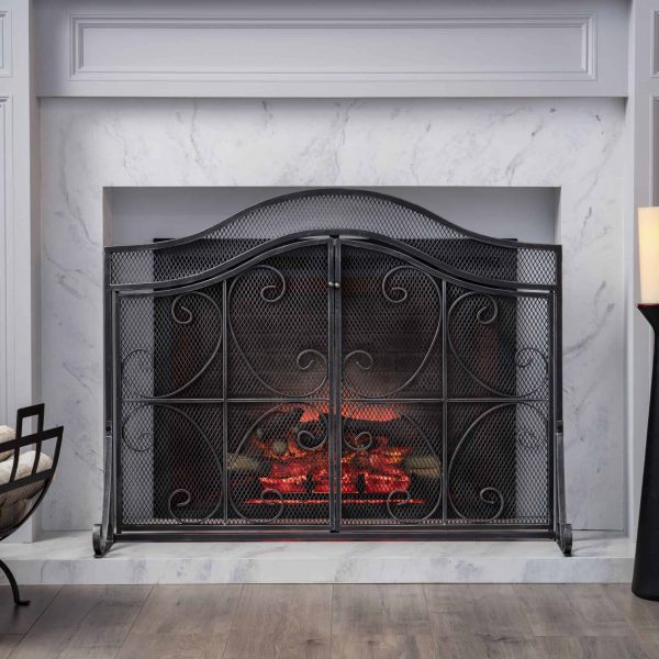 """41"""" Black and Silver Contemporary 3 Paneled Fireplace Screen 6"""