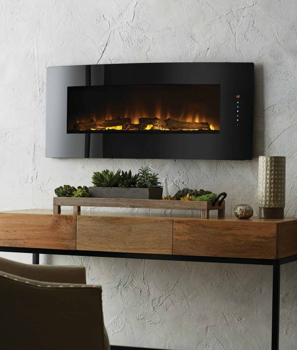42-in Contemporary Curved Front Slim Line Wall Mount Infrared Electric Fireplace 8