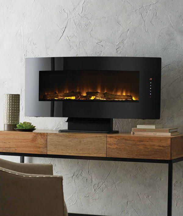 42-in Contemporary Curved Front Slim Line Wall Mount Infrared Electric Fireplace 9