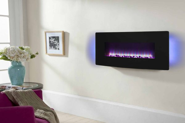 42-in Curved Front Wall Mount Electric Fireplace in Black Glass 1