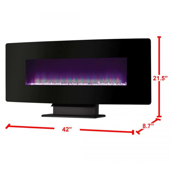 42-in Curved Front Wall Mount Electric Fireplace in Black Glass 4