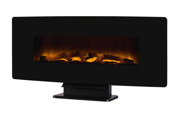 42-in Curved Front Wall Mount Electric Fireplace in Black Glass