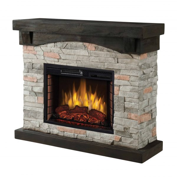 42-in Sable Mills Electric Fireplace with Grey Faux Stone Mantel