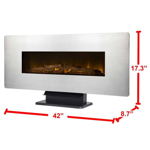 42-in Wall Mount Electric Fireplace in Zinc 4