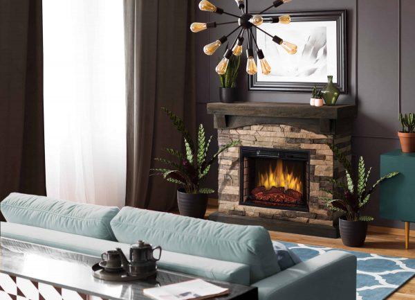"42"" Sable Mills Electric Fireplace -Tan Faux Stone Mantel 1"