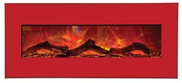 "43"" Electric Unit Fireplace 51"" x 23"" Candy Apple Red Steel Surround 1"