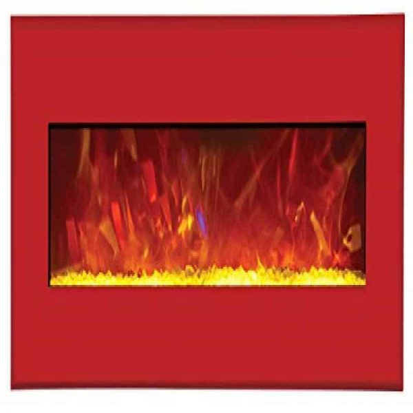"43"" Electric Unit Fireplace 51"" x 23"" Candy Apple Red Steel Surround"