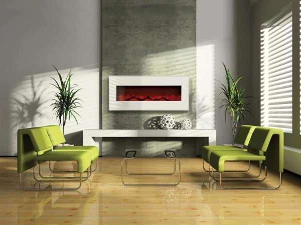 """43"""" Electric Unit Fireplace 51"""" x 23"""" Gallery White Steel Surround 2"""