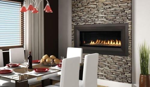 "43"" Millivolt Linear Vent-Free NG Fireplace- Lights & Glass Pebbles"