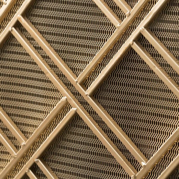 """44"""" Gold Contemporary Single Panel Fireplace Screen 1"""