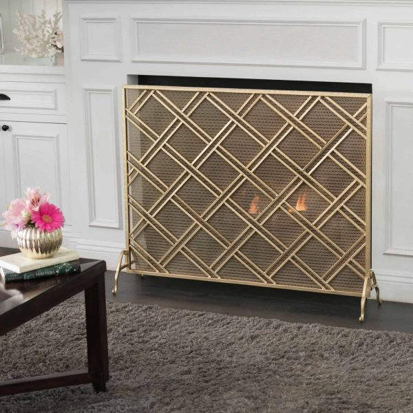 "44"" Gold Contemporary Single Panel Fireplace Screen 3"