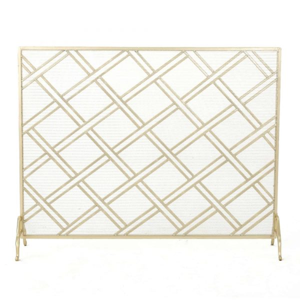 "44"" Gold Contemporary Single Panel Fireplace Screen"
