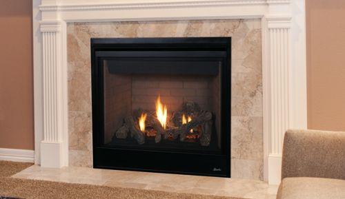 "45"" Direct-Vent Fireplace w/Aged Oak Logs and Millivolt Ignition - LP"