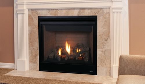 """45"""" Direct-Vent Fireplace w/Aged Oak Logs and Millivolt Ignition - NG"""