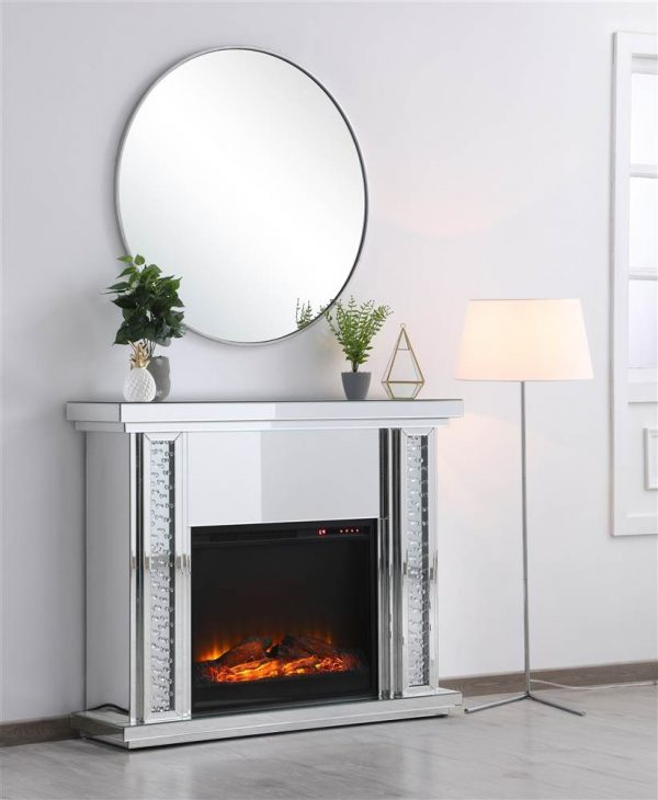 47.5 in. Crystal mirrored mantle with wood log insert fireplace 1