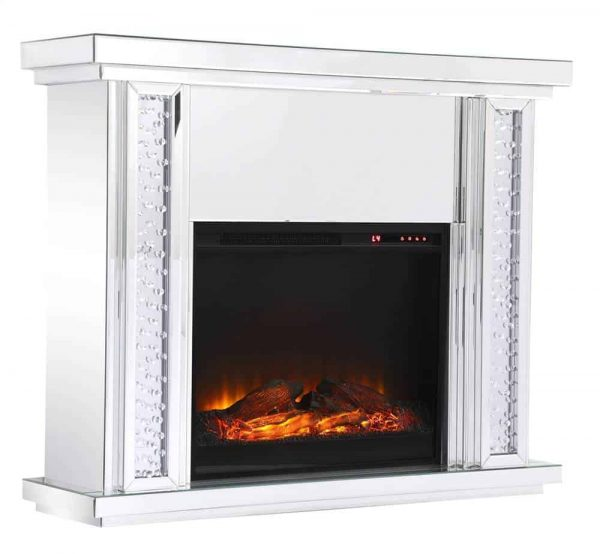 47.5 in. Crystal mirrored mantle with wood log insert fireplace 3
