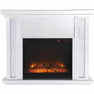 47.5 in. Crystal mirrored mantle with wood log insert fireplace
