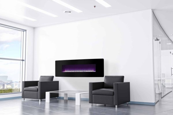 48-in Curved Front Wall Mount Electric Fireplace with Black Glass 5
