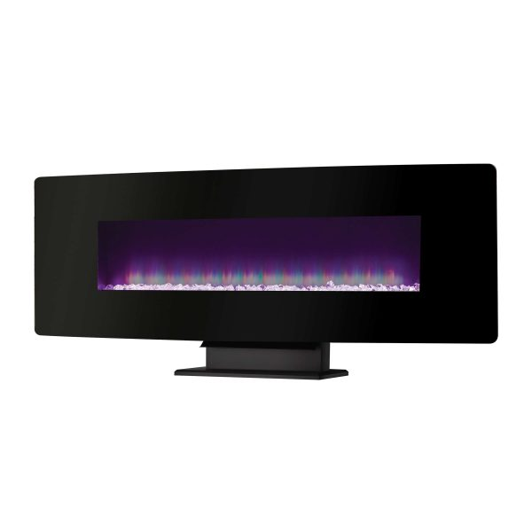 48-in Curved Front Wall Mount Electric Fireplace with Black Glass