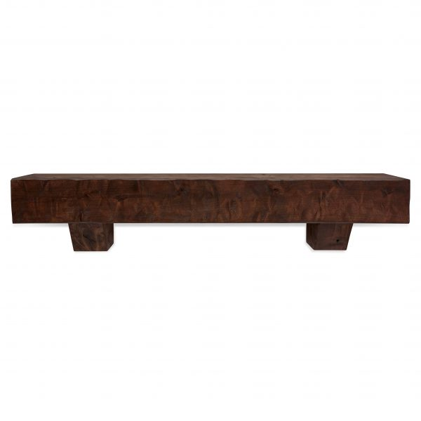 48 in. Rough Hewn Mahogany Fireplace Mantel with Corbels
