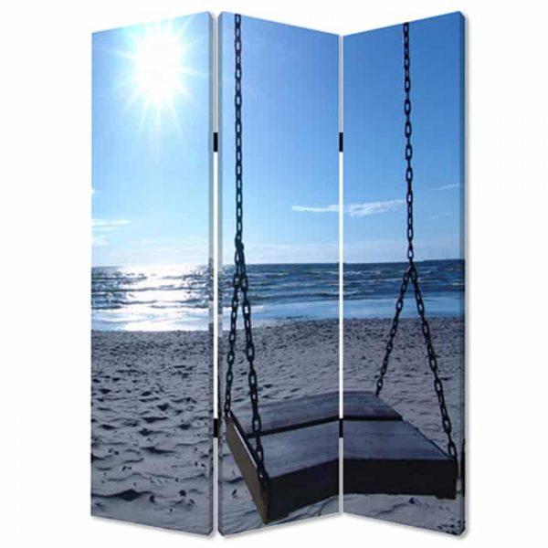 "48"" X 72"" Multi-Color Wood Canvas Seaside Serenity Screen"