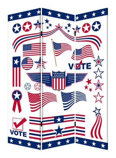 """48"""" X 72"""" Multi-Color Wood Canvas Vote Screen"""