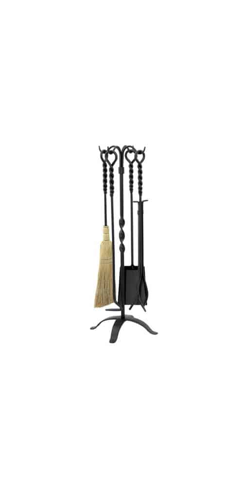 5 Pc Black Iron Fire Set With Twisted Handles And Stand