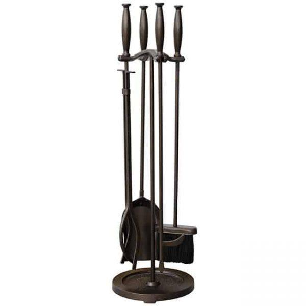 5 Pc Bronze Fireset With Cylinder Handles