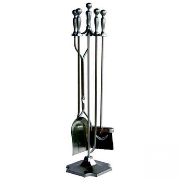 5 Pc Satin Pewter Fireset With Pedestal Base
